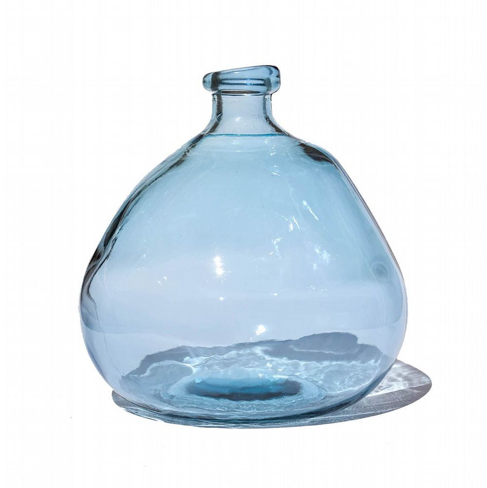 Recycled Glass Balloon Vase - 23cm - Aqua